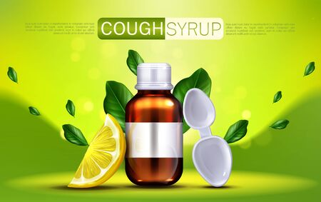 Cough syrup with lemon flavour banner mock up. Brown glass blank bottle and spoon with citrus slice and green leaves, flu remedy package design for medical promo ads. Realistic 3d vector illustration