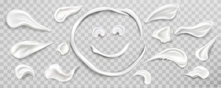 White cream smears swatch in shape of smiling sun face. Set of cosmetics beauty skin care product strokes isolated on transparent background, lotion, milk. Realistic 3d vector illustration, clip art.