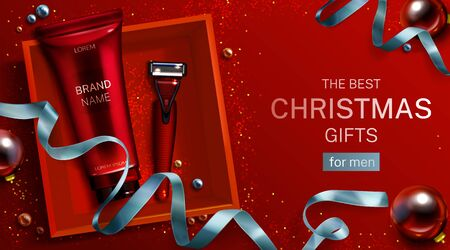 Men cosmetics Christmas gift mockup banner. Aftershave cream tube, safety razor blade in red box top view. Shaver and body care cosmetic product on festive background. 3d realistic vector illustration
