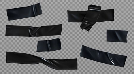 Black duct tape set. Insulating adhesive wrinkled stripes and cross glued sticky scotch pieces for fix, repair or packaging purpose isolated on transparent background Realistic 3d vector illustration 矢量图像