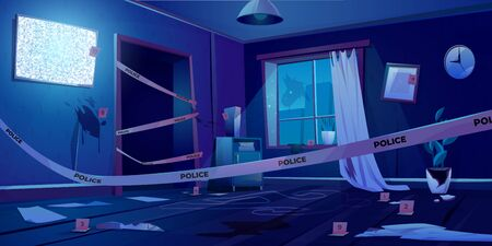 Crime scene at night, murder place in dark room fenced with police tape, chalk line silhouette of dead body on floor, evidence knife blood spots, broken window in apartment Cartoon vector illustration