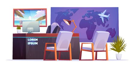 Travel agency office empty interior with desk of consultant on tourism, world map with plane and poster on the wall. Vector cartoon illustration with computer on the table, armchairs and palm in pot 矢量图像