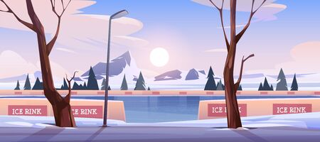 Empty outdoor ice rink for skating, skiing and fun winter activities. Vector cartoon illustration of frozen landscape with mountains, trees and snow on evening or morning scene.