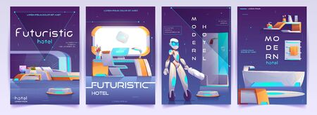 Futuristic hotel banners set. Humanised robot cleaner assistant in home with neon glowing furniture. Hospitality advertising background, hi-tech apartment posters design. Cartoon vector illustration