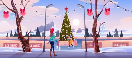 Girl with mother on Christmas ice rink with decorated fir tree and garlands. Woman with little daughter skating activity in public place, people walking in winter park. Cartoon vector illustration