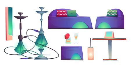 Shisha hookah bar set, cafe for smoking stuff isolated on white background, chillums, table, drinks, comfortable couches, lamps. Lounge in arabic or turkish style Cartoon vector illustration, clip art Illusztráció