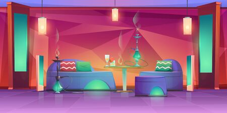 Shisha hookah bar interior, empty cafe for smoking with chillums standing on table with drinks and comfortable couches. Lounge in arabic or turkish style with muffled light Cartoon vector illustration