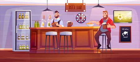 Man in beer bar. Visitor at pub sit on high stool at wooden desk with barman pouring drink to cup, bottles in fridge, menu board, darts and tv with football match on wall Cartoon vector illustration