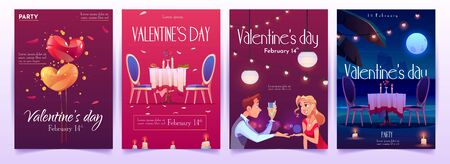 Valentines day banners set. Invitation for romantic dating or party for couples in love for having dinner with champagne, meal and burning candles in intimate atmosphere. Cartoon vector illustration Illusztráció