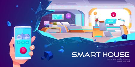 Smart house web banner. Home interior with artificial intelligence technology, Internet of things mobile application service touch screen on neon background Cartoon vector illustration, landing page Illustration