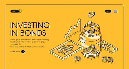 Investing in bonds isometric landing page, dollar coins fall to jar with investment documents and charts around, invest fund increase money finance business 3d vector illustration, line art web banner Illustration