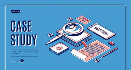 Case study isometric web banner. Business information research and analysis, magnifying glass with notebook, smartphone, certificate and stationery on table. 3d vector landing page in line art style