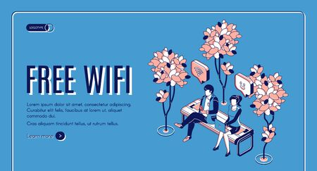 Free wifi isometric landing page, people sitting on bench in park with hotspot public access zone using wireless internet, chatting in social media networks. 3d vector web banner template, line art
