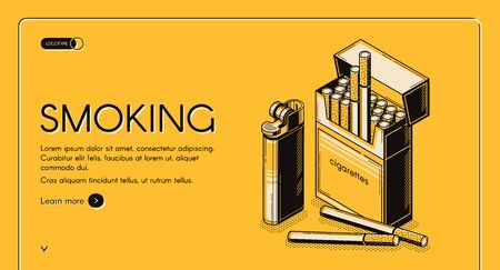 Smoking activity isometric landing page, cigarettes package and lighter set, tobacco nicotine product web banner design on yellow background. Bad unhealthy habit quit. 3d vector line artillustration