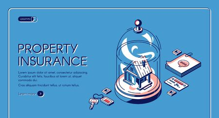 Property insurance isometric landing page. Real estate building stand under glass dome with keys, notes and businesscard. Home accident protection service 3d vector illustration line art web banner 矢量图像