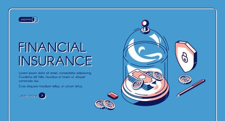 Financial insurance isometric landing page, money dollar bills and coins lying under glass dome. Finance protection, secure investment, protect savings. 3d vector illustration, line art web banner Illusztráció