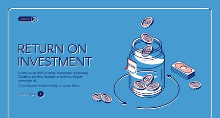Return on investment isometric landing page, dollar coins fall to glass jar with loop arrow and bills around, invest fund increase money finance business 3d vector illustration, line art web banner Illusztráció