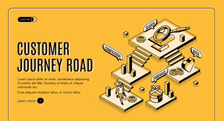 Customer journey road isometric landing page. Stages of buying process search, wish, comparison, purchase. Buyer moving by route having shopping experience. 3d vector line art illustration, web banner