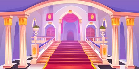 Castle staircase, upward stairs in palace entrance with pillars, statues, red rag and wooden doors, medieval architecture empty fantasy or historical building hall interior Cartoon vector illustration Illustration