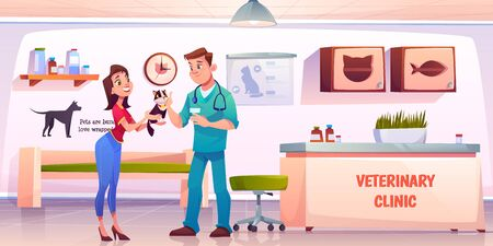Customer in vet clinic. Young woman giving cat to veterinarian doctor on reception for medical treatment, vaccination or health check up. Animals hospital pets appointment. Cartoon vector illustration Illusztráció