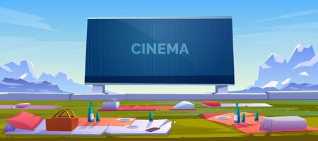Outdoor cinema, open air movie theater with blankets, barbeque baskets with meal and wine bottles on ground front of large outdoors screen on mountain landscape background. Cartoon vector illustration