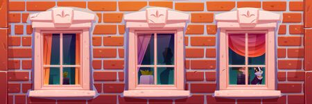 Windows of house or castle, brick wall facade with vintage casements decorated with curtains and home plants, cat sitting on windowsill inside, building archeticture design Cartoon vector illustration