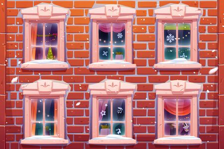Windows of house or castle with Christmas and New Year decoration, brick wall facade with casements decorated with paper snowflakes and fir tree. Cat sitting on windowsill. Cartoon vector illustration