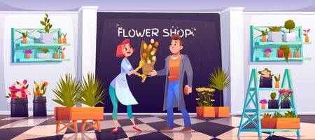 Man buying bouquet in flower shop, saleswoman and customer in floristic store with potted plants on shelves, tiled floor, decoration items, blossom compositions for sale. Cartoon vector illustration Illusztráció