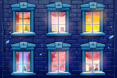 Night windows of house or castle with Christmas and New Year decoration, brick wall facade casements with paper snowflakes, glow garlands and fir tree Cat sit on windowsill Cartoon vector illustration