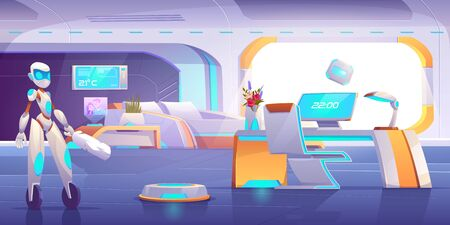 Robot assistant, automatic vacuum and window cleaner household activity in futuristic bedroom with neon glowing furniture. Apartment interior with technologties of future. Cartoon vector illustration