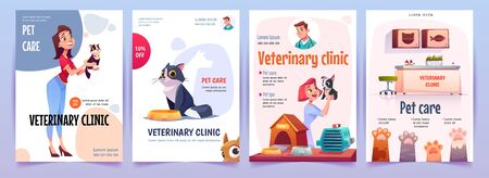 Veterinary clinic banners set. Vet service, cats and dogs care, spa procedures for pets in therapeutic office, animals health care, hospital advertising poster design. Cartoon vector illustration Illustration