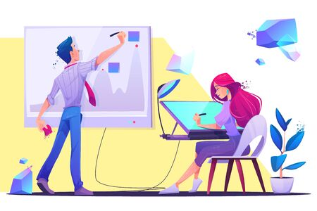 Creative office work or coworking occupation. Young man writing on chart board with sticky notes, woman designer, artist painter sitting at desk drawing on graphic tablet. Cartoon vector illustration Standard-Bild - 134789040