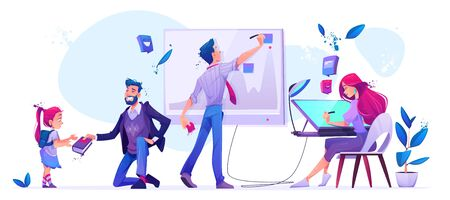 Office work and school education. Man writing on chart board, woman designer drawing on graphic tablet. Teacher stand on knee giving book to little girl with schoolbag. Cartoon vector illustration