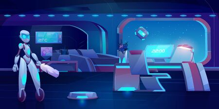 Robot assistant, automatic vacuum and window cleaner in futuristic bedroom with neon glowing furniture at night. Apartment interior with household technologties of future . Cartoon vector illustration Illustration
