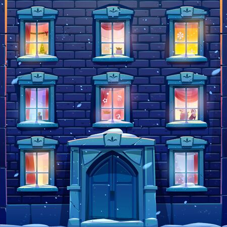 Night windows of house or castle with Christmas and New Year decoration, brick wall facade with solid wooden door, casements with paper snowflakes, garlands and fir tree. Cartoon vector illustration