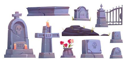 Begraafplaats set, kerkhof grafsteen, gebarsten stenen kruis met rip handtekening en gedoofde kaars, metalen poort, oude mausoleum graf geïsoleerd op een witte achtergrond Cartoon vectorillustratie, illustraties