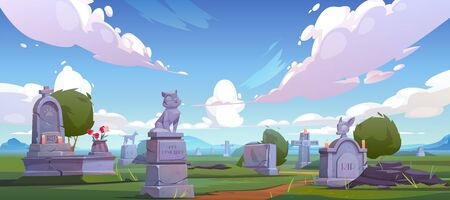 Pet cemetery, animal graveyard with tombstones, grave tombs with cat and dog monuments, cracked crosses with rip signature, extinguished candles and flowers. on green grass Cartoon vector illustration