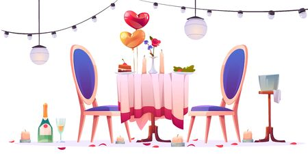 Restaurant table after romantic dating isolated on white background. Unfinished champagne in glasses, extinguished candles, heart shaped balloons, rose flower petals around Cartoon vector illustration Illusztráció