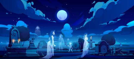 Ghosts on cemetery, old graveyard at night with dead souls silhouettes walking among graves with burning candles at full moon midnight in darkness. Scary halloween scene. Cartoon vector illustration 일러스트