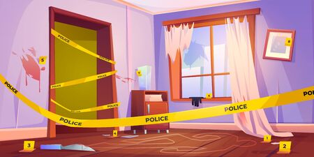 Crime scene, murder place fenced with yellow police tape, chalk line silhouette of dead body on floor, bloody knife and red spots on walls. Wrecked furnished apartment. Cartoon vector illustration