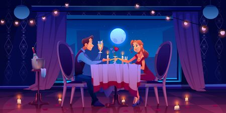 Couple romantic date dinner, man holding woman hand sitting at served table in dark room at window with view of moon in night sky drinking champagne, candles, flower petals Cartoon vector illustration