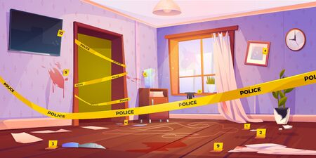 Crime scene, murder place fenced with yellow police tape, chalk line silhouette of dead body on floor, evidence, knife, fingerprints and blood spots on walls in apartment. Cartoon vector illustration