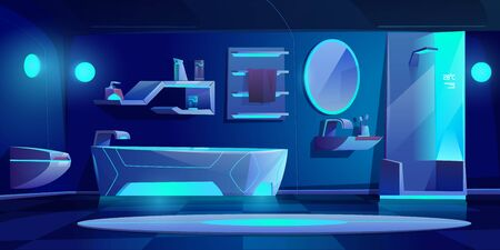 Futuristic bathroom interior with furniture and stuff glowing with neon light at darkness, bath tub, shower cabin, washbasin, toilet bowl, mirror, shelf, night modern home. Cartoon vector illustration Illusztráció