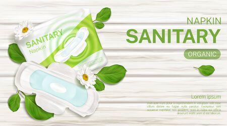 Organische Damenbinden-Paket mit Kamillenblüten-Mock-up-Banner. Weibliche Tageszeit hygienische Pad-Packung, Schutzprodukt mit Flügeln auf Holzoberfläche Draufsicht Promo-Poster Vektor 3D-Darstellung
