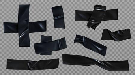 Set di nastro adesivo nero. Strisce rugose adesive isolanti e pezzi di scotch appiccicosi incollati trasversalmente per la riparazione, la riparazione o lo scopo di imballaggio isolati su sfondo trasparente Illustrazione vettoriale 3d realistica