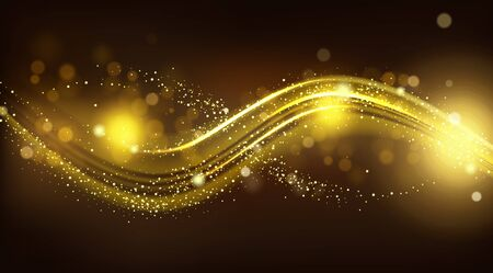 Gold sparkle wave on black blurred background. Shiny glittering glow magic stardust curve track line, design element for festive products or cosmetics advertising. Realistic 3d vector illustration 矢量图像