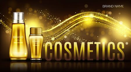 Cosmetics bottles mock up banner, repair beauty skin care product tubes on black blurred background with gold sparkle wave. Cosmetic lotion package design magazine ad Realistic 3d vector illustration