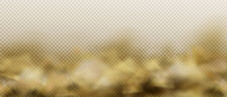 Dust sandy cloud, air pollution fog or smoke, brown heavy steam with motes sand and soil particles isolated on transparent background. Thunderstorm in desert Realistic 3d vector illustration, clip art