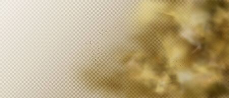 Dust or smoke cloud, brown heavy smog steam with motes, sand and soil particles right side frame isolated on transparent background. Cigarette vapor element. Realistic 3d vector illustration, clip art Illustration