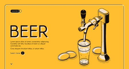 Beer tap isometric landing page, alcohol drink pouring from pub faucet with handle to empty glass on bar desk. Craft brew advertising poster on yellow background. 3d vector line art illustration